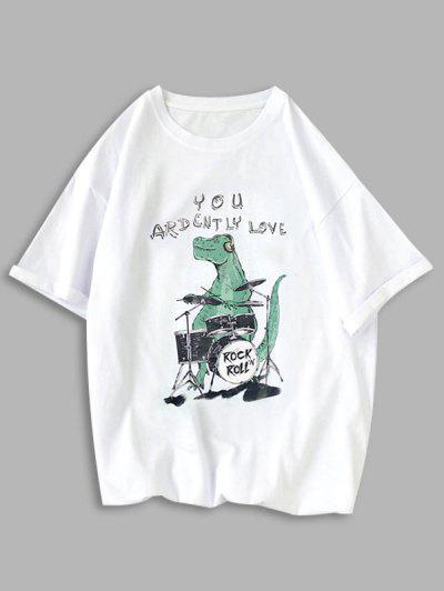 Rock Roll Dinosaur Graphic T Shirt - White Xs