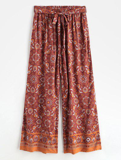 Bohemian Printed Belted Wide Leg Pants - Red S