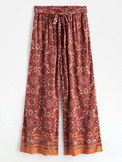 Pantalones De Pierna Ancha Con Estampado De Bohemia Con Cinturón - Rojo S