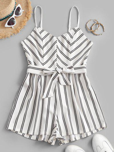 Belted Stripes Cami Romper - White S