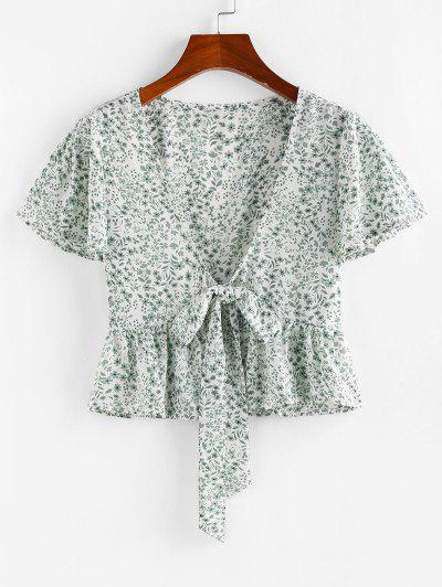 ZAFUL Tie Front Plunging Neck Ditsy Print Blouse - White M
