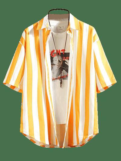 Contrast Striped Curved Hem Shirt
