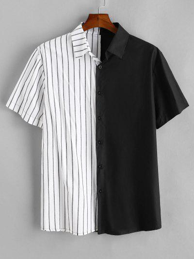 ZAFUL Camisa A Rayas Con Panel De Color Bloque - Negro L