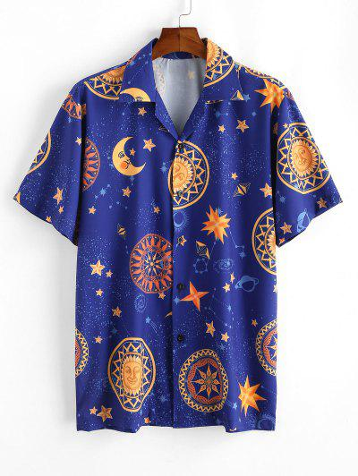 Moon And Sun Printed Casual Shirt - Deep Blue M