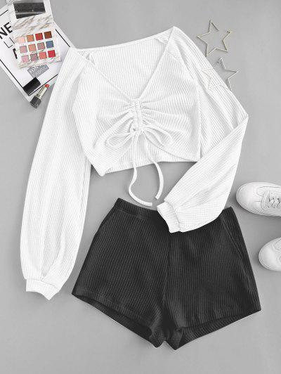 Colorblock Textured Cinched Raglan Sleeve Pocket Shorts Set - White M