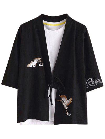 中国風刺繍着物カャツ - 黒 L