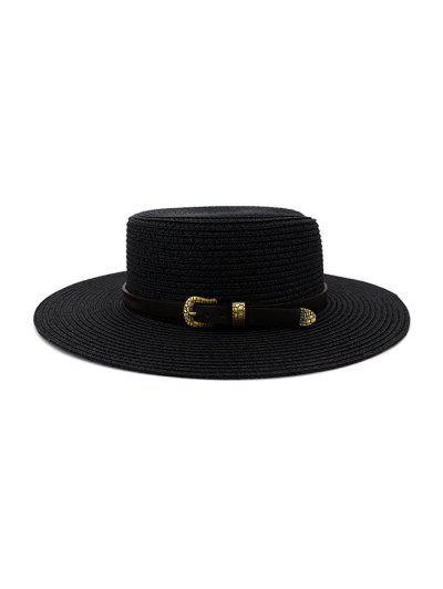 Buckle Belt Wide Brim Flat Top Straw Hat - Black