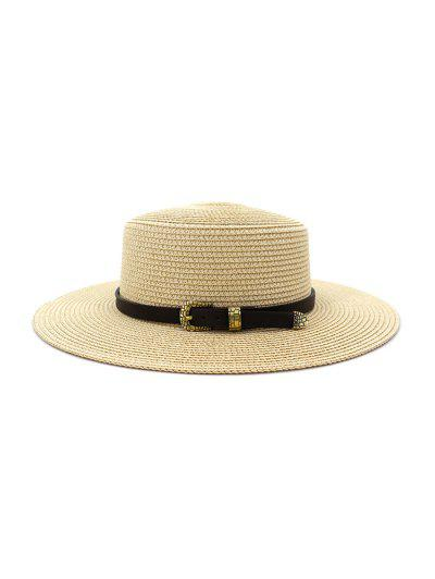 Buckle Belt Wide Brim Flat Top Straw Hat - Beige