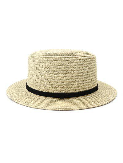Straw Flat Top Hat - Beige