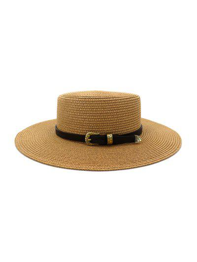 Buckle Belt Wide Brim Flat Top Straw Hat - Khaki