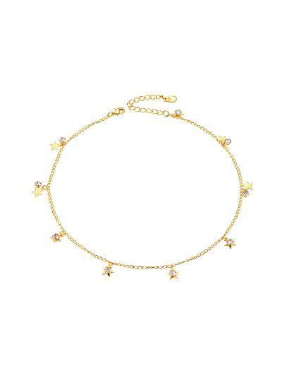 18K Gold Plated Star Rhinestone Chain Collarbone Necklace - Golden