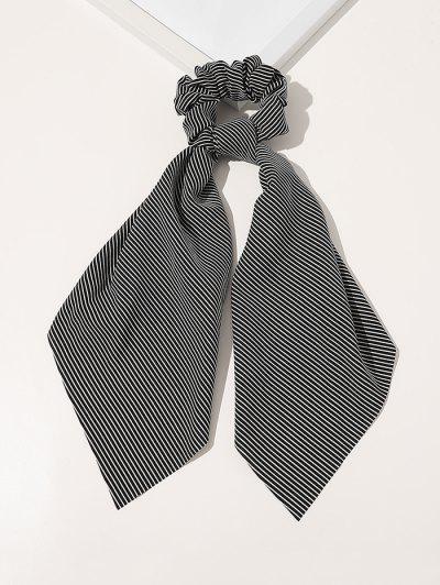 Ribbon Striped Print Fabric Scrunchy - Black