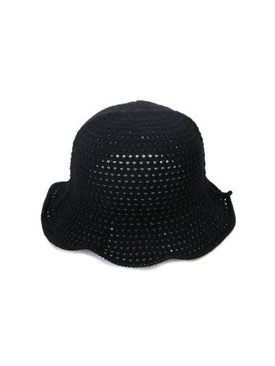 Hollow Out Woven Bucket Hat - Black