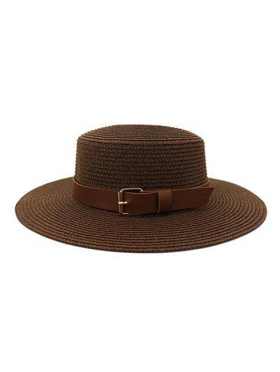 Wide Brim Belted Straw Flat Top Hat - Coffee