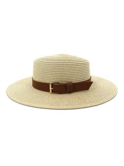 Wide Brim Belted Straw Flat Top Hat - Beige