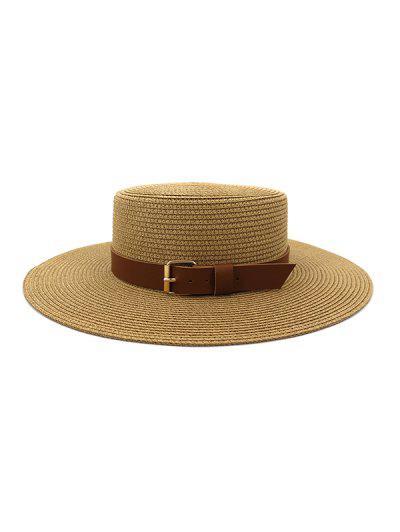 Wide Brim Belted Straw Flat Top Hat - Khaki