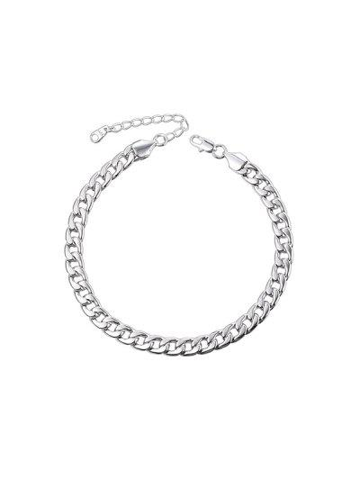 316L Stainless Steel Plated Curb Link Chain Anklet - Silver