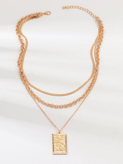 Collar Colgante Gradas De Figuras De Dragón - Oro
