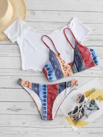 ZAFUL Lettuce Trim Bohemian Printed Three Piece Bikini Swimsuit - Coffee L