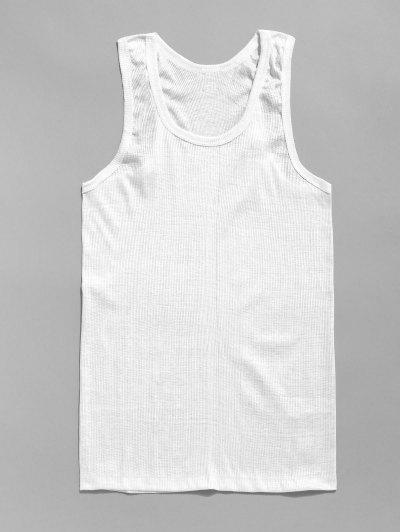 Solid Rib-knit Casual Tank Top - White 3xl