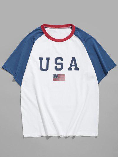 American Flag Letter Printed T-shirt - White S
