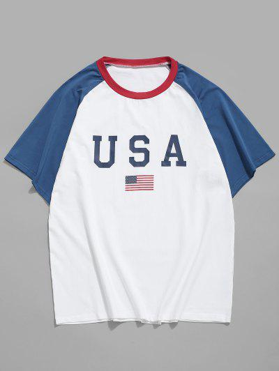 American Flag Letter Printed T-shirt - White 2xl