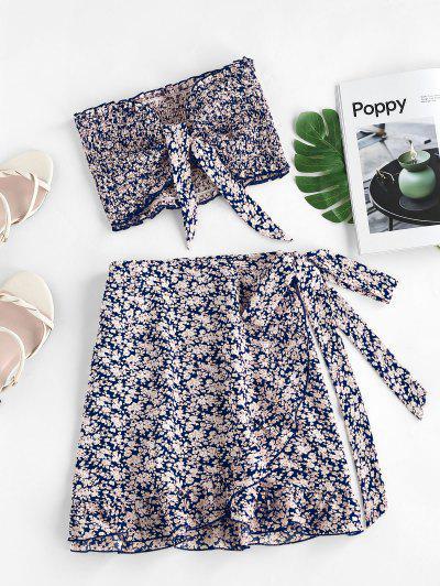 ZAFUL Vestido Ditsy Impressão De Folho Franzido - Azul De Lapis S