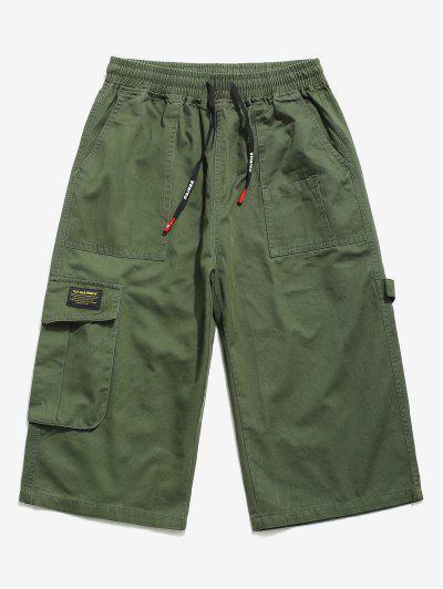 Letter Pattern Multi-pocket Pants - Army Green Xs