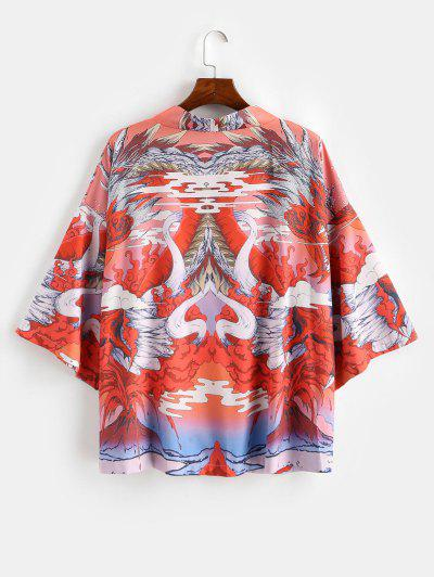 Oriental Dragon Graphic Oriental Kimono Cardigan - Papaya Orange L