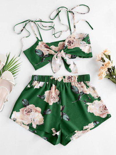 ZAFUL Flower Tie Shoulder Knotted Two Piece Set - Clover Green M