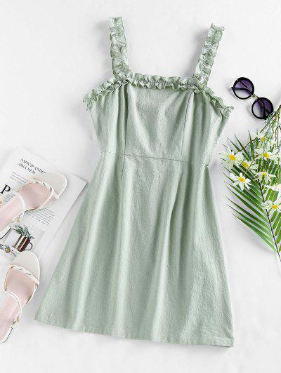 ZAFUL Ruffles Solid Mini Dress - Cyan Opaque L