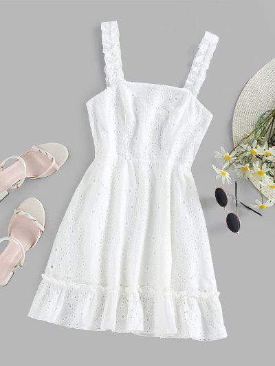 ZAFUL Ruffle Embroidered Mini Dress - White S