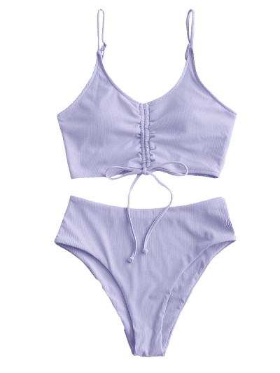 ZAFUL Ribbed Cinched High Waisted Tankini Swimsuit