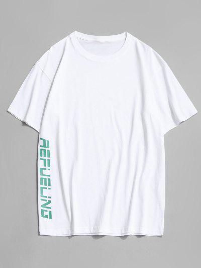 Camisola De Mangas Curtas Com Colarinho Redondo - Branco 3xl