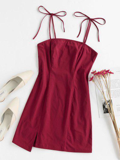 ZAFUL Slit Tie Shoulder Mini Dress - Red Wine S