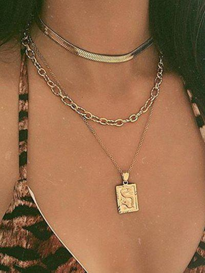 Dragon Pattern Tiered Pendant Necklace - Gold