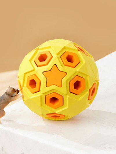 Layered Ball Shape Rubber Squeaky Dog Chew Toy - Yellow 8cm