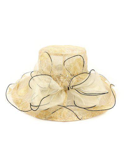 Bowknot Sheer Organza Wide Brim Hat - Beige