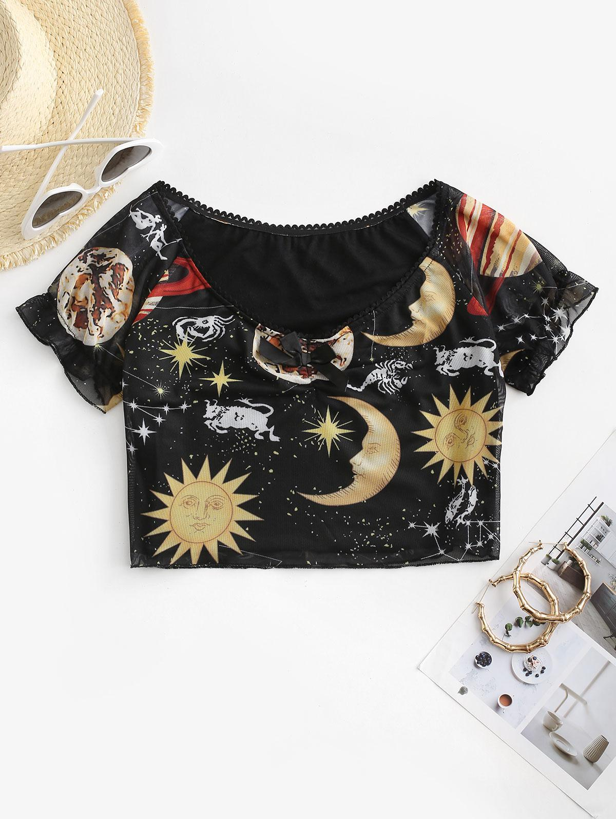 Gathered Front Galaxy Sun And Moon Tee