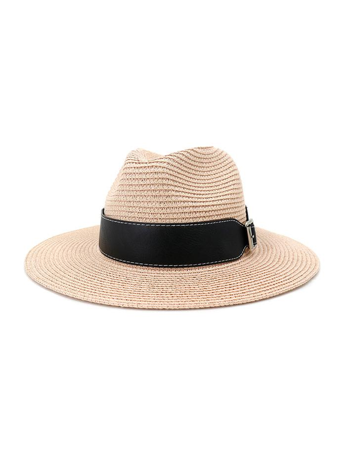 Straw Jazz Hat With Wide Belt