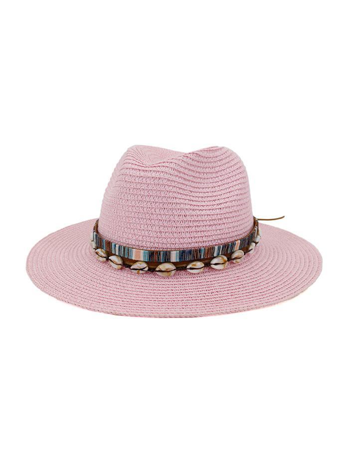 Shell Embellished Straw Jazz Hat