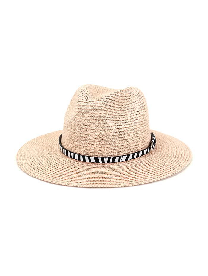 Animal Print Belt Straw Jazz Hat