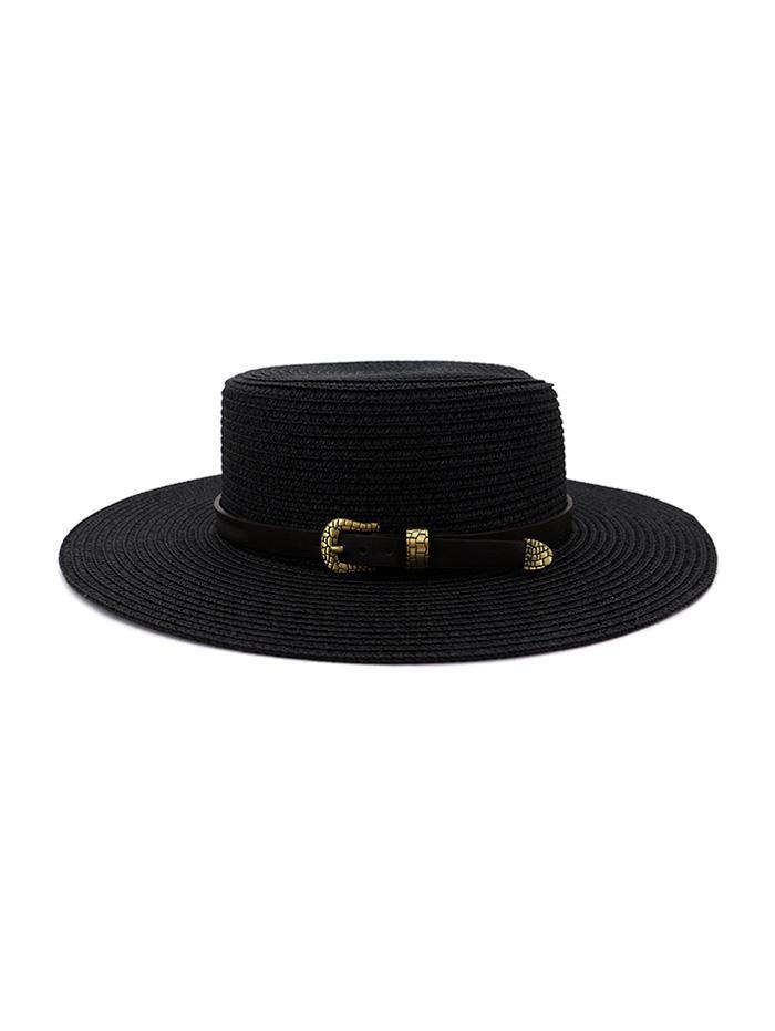Buckle Belt Wide Brim Flat Top Straw Hat