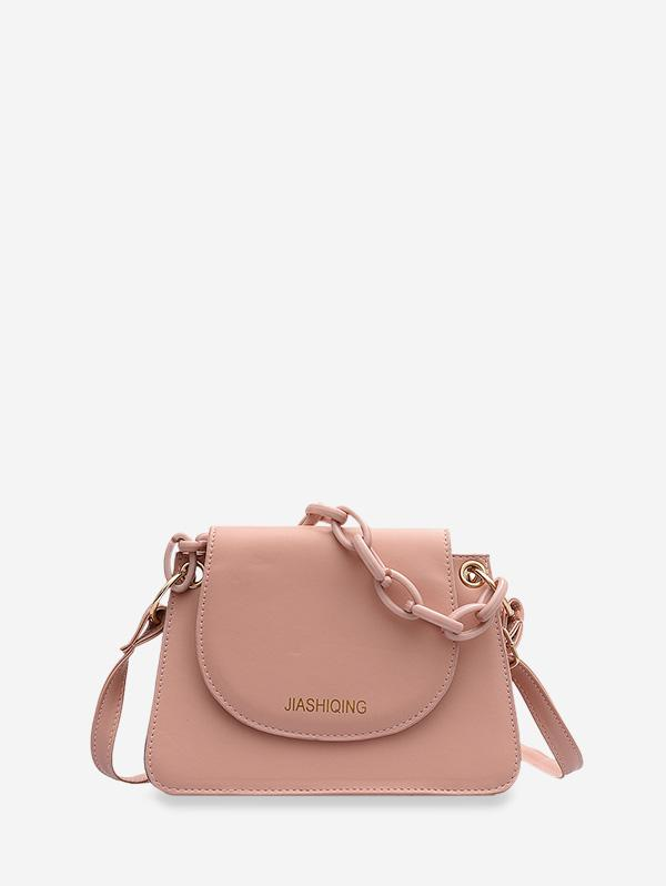 Letter Print Chain Embellished Small Crossbody Bag