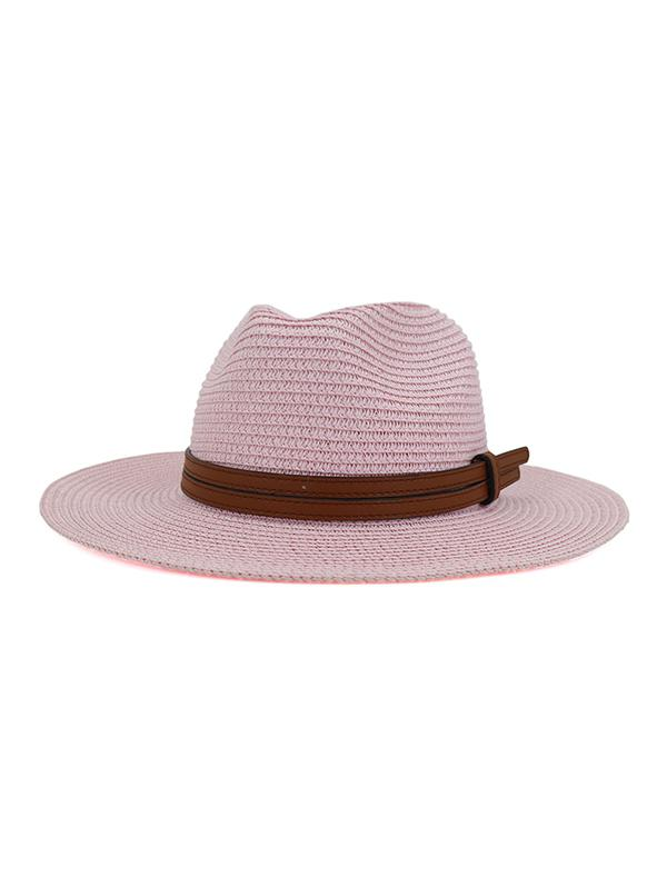 Straw Jazz Hat With Layered Belt