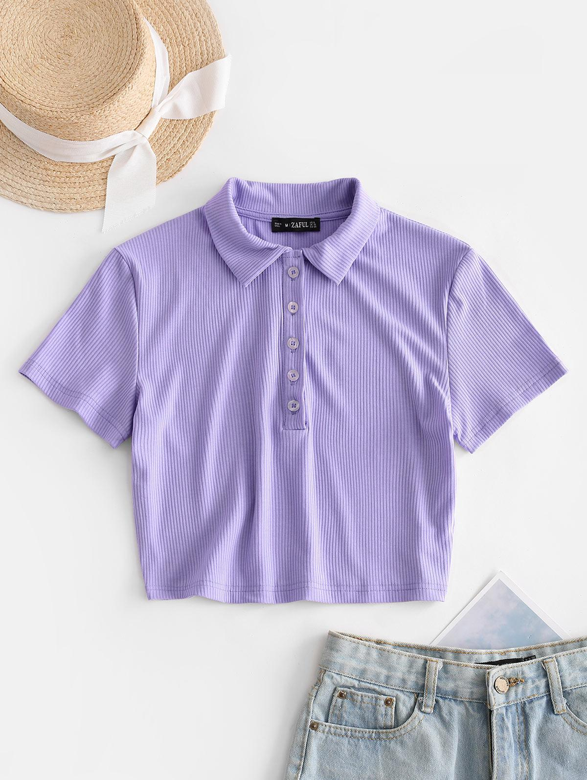 ZAFUL Half Buttoned Solid Ribbed Cropped Tee