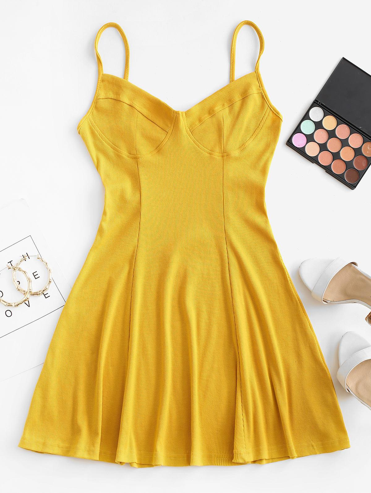 Ribbed Fit and Flare Bustier Dress