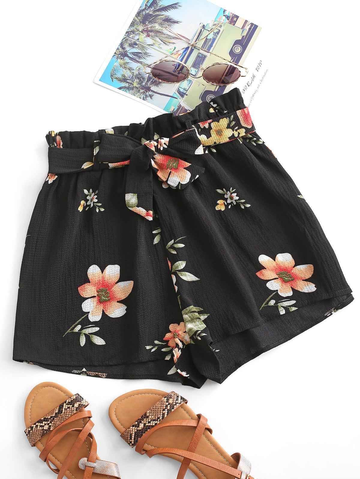 Floral Textured Paperbag Shorts