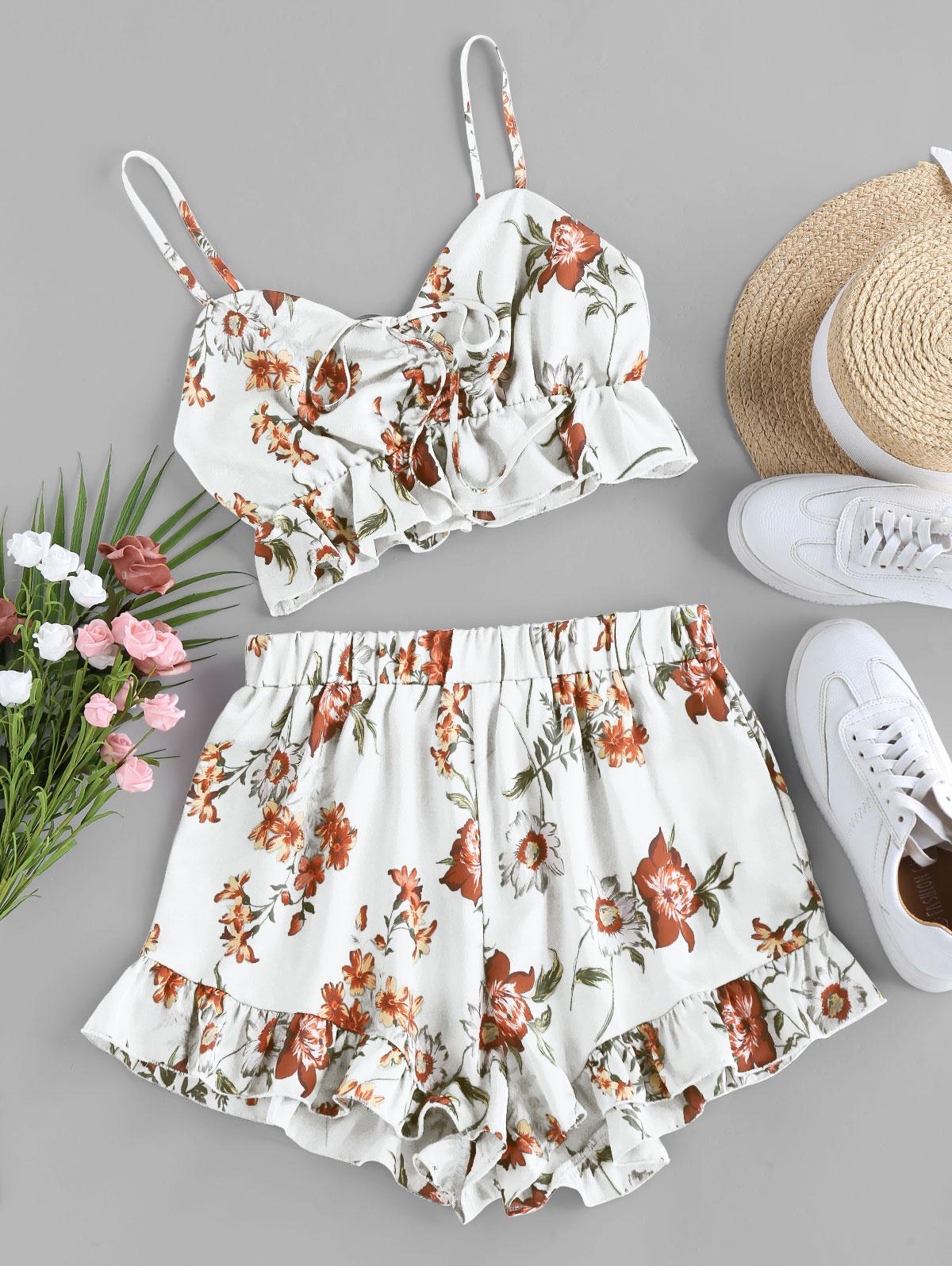 ZAFUL Floral Print Cinched Flounce Two Piece Set
