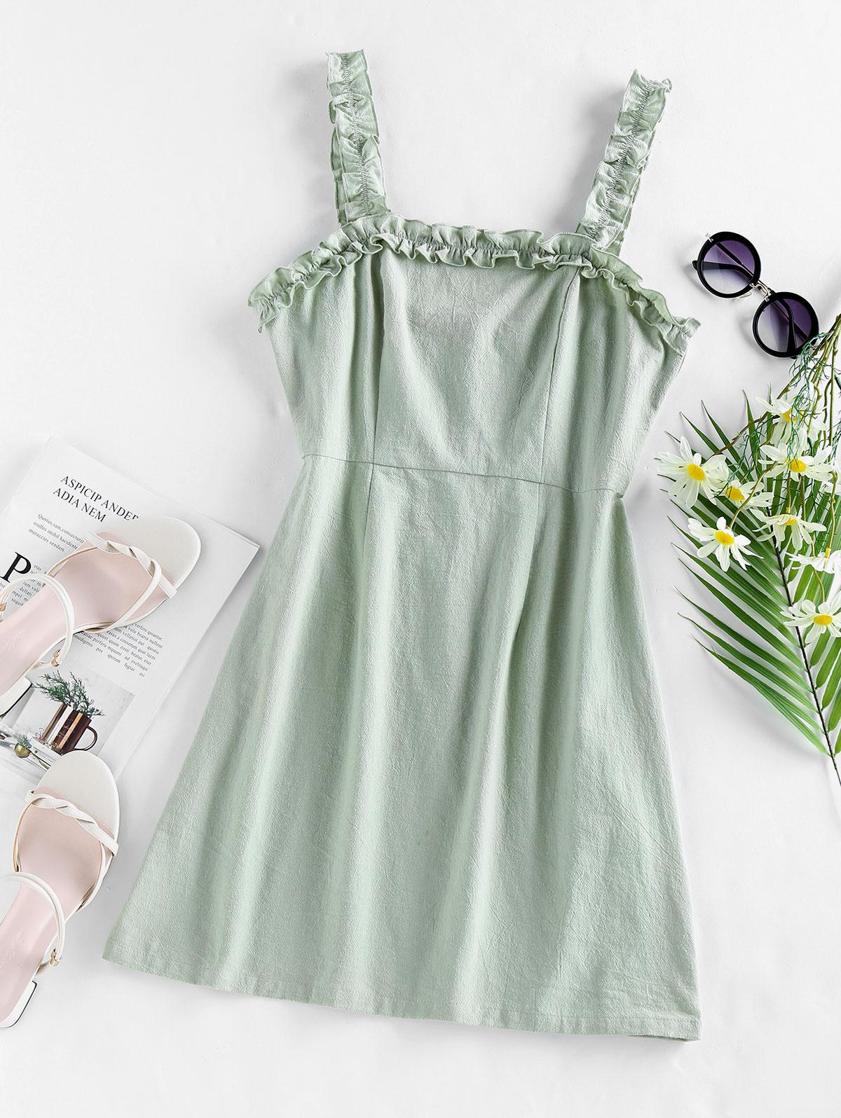 ZAFUL Ruffles Solid Mini Dress